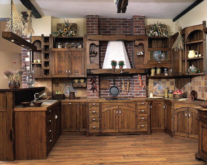 собственным дизайн кухни под старину фото частично скрадывает пространство